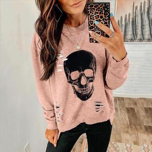 Halloween Skull Print Women Hoodie Sweatshirt Pullovers Ripped Hoodies Gothic Fall 2020 Long Sleeve Tops Casual Club Streetwear