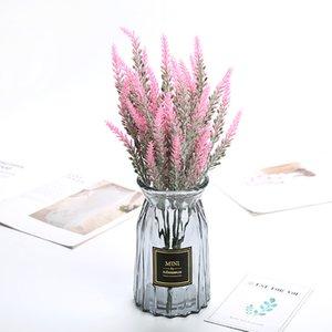 10pcs / lot Plastik Lavender Home Dekoratif Aksesuarları Düğün Ekran Simülasyon Çiçek 5 çatal Lavanta Sahte Çiçekler