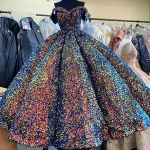 Funkelndes Ballkleid Ballkleider 2021 Süßigkeit-Farben-glänzende Pailletten wulstige weg von der Schulter Arabisch Dubai Abendgarderobe Kleid Puffy Rock