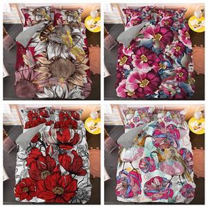 Bedding Set Folha de cama edredon cobrir fronha Impressão Digital 3D Rose Flor Com Pássaro Home Textiles Bed Set T3Ox #