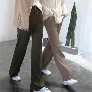Трикотажные брюки Женщины Soft Comfort Упругие Длинные брюки Весна Зима 2020 Урожай Casual Chic Теплый Простой шаровары Женский Слаксы
