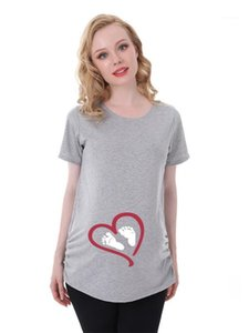 Neck Famale Loose Clothes Fashion Maternity Pregnant Woman Love Print Tshirt Summer Short Sleeve Crew