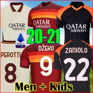 2021 AS DE ROSSI ROMA Fußball Jersey DZEKO rom TOTTI KOLAROV 20 21 Fußballhemd PASTORE ZANIOLO dritte schwarze Männer + Kids kit Uniform maillot