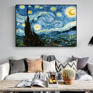 Impressionista di Van Gogh Notte pitture a olio su tela notte stellata Stampa Immagini decorativo per Living Room Decor Cuadros