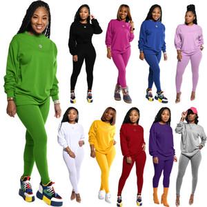 Женщины 2 шт Спортивные костюмы Solid Color Длинные Sleeved Jogger Set пуловер Спортивная Повседневный Осень Весна Спорт Эпикировка Плюс Размер одежды