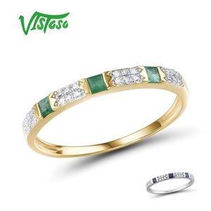 VISTOSO 14K Y W Gold Rings For Women Genuine Shiny Diamond Fancy Blue Sapphire Emerald Engagement Anniversary Chic Fine Jewelry T200908