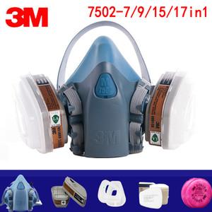 7/9/15 / 17in1 3M 7502 máscara de gas químico protector respirador máscara de pintura industrial spray anti vapor orgánico 6001/2091 filtro