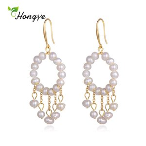 Hongye Classic Round Natural Freshwater Pearls Drop Earrings for Women Long Pendientes Tassel Party Modern Jewelry Brincos Gifts