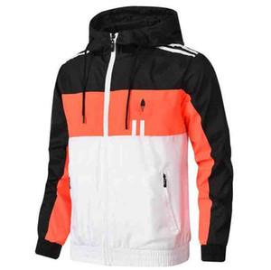 Autunno Giacche da uomo con zip 3 Strisce Uomini Windbreaker Jacket cappotti Outdoor primavera Jacket Moda Abbigliamento Outdoorwear