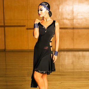 New Women Latin Dance Dress Black Ballroom Tango Sexy Cha Cha Samba Rumba Salsa Competition Dresses Performance Costume