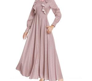 Lady Muslim Dress Women Loose Long Sleeve Round Neck Festival Robe Dress Longuette Islamic Clothing Vetement Femme33