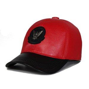 Exclusive 2020 Korean Genuine Leather Ponytail Baseball Caps For Men Women Youth Eagle Locomotive Hip-Pop Bone Leisure Hat