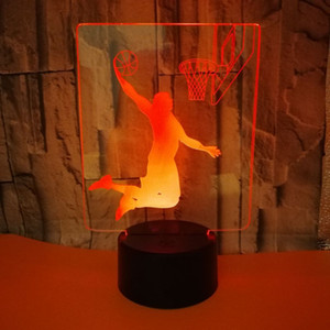 Acrílico colorida creativa de la lámpara 3D visual que juega a baloncesto noche 3d luces de mesa Ambiente Navidad del regalo de la lámpara