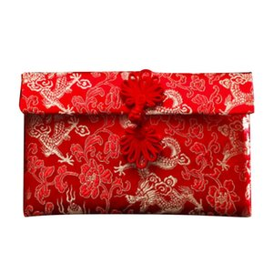 Chinese Knot Brocade Red Envelopes Dragon Phoenix Pattern Home Decor Exquisite Money Packets Wallet Silk Cloth Spring Festival