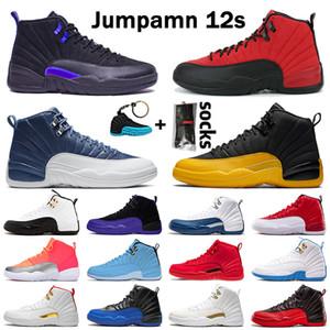 أحذية air jordan retro 12 aj jumpman 12s xii Reverse Flu Game stone blue DARK CONCOR OVO FIBA Bulls أحذية كرة السلة للرجال أحذية رياضية بيضاء للرجال  والنساء