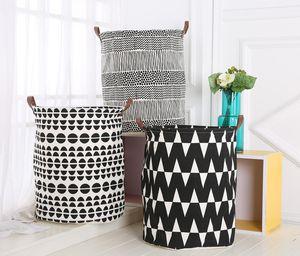 Ins Storage Baskets Bins Kids Room Toys Storage Bags Bucket Clothing Organization Canvas Laundry Bag OWD1691
