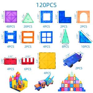 120PCS educativo Construcción Juguetes playmager los niños magnética de plástico bloques de construcción de juguete en venta Clea 3D baldosas magnética
