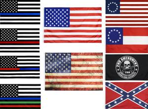 2020 العلم الأمريكي 90CMX150CM موظف إنفاذ القانون الأمريكية الشرطة الجميلة الأزرق خط الأمريكي بيتسي روس العلم