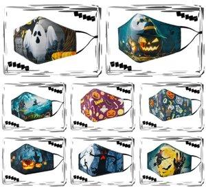 Máscaras Máscara Facial Halloween Cotton Crânio Impressão 3D Máscara assustador reutilizável lavável Anti Boca poeira para Máscaras Partido Masquerad