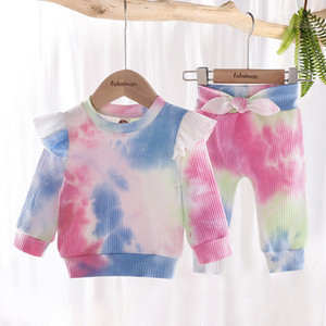 Baby Girl Clothes Tie Dye Clothing Set Long Sleeve Top Bow Pants 2 pcs Fashion Infants Wear Boutique Clothing Tie Dye Outfits