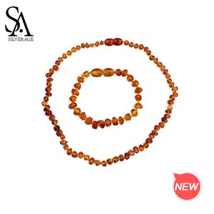 SA SILVERAGE Natural Amber Bracelets Necklaces Jewelry Sets for Baby Girls Boys Fashion Jewelry Sets Two Pieces Amber Sets MX200810