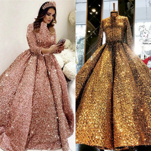 Ball Gown Woman Party Night Evening Prom Dresses 2021 sparkly Muslim caftan rose Gold Long sleeve Plus Size arabic prom Dresses