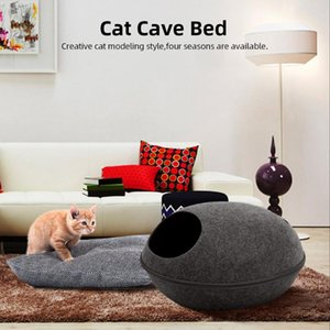 Cat Bed Cave Sleeping Bag Zipper Egg Shape Felt Cloth Cat House Bed for Cats Dog Animals Beds Nest Cushion Pet Supplies