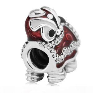 Fits Designer Bracelets Chinese Lion Dance Silver Beads with Clear CZ 100% 925 Sterling Silver Charms DIY Jewelry