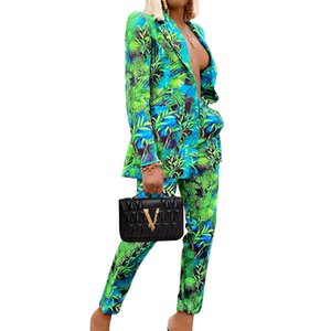 OMILKA Floral Printed Elegant 2 Piece Set Women Single Breasted Blazer and Long Pant Set 2020 Autumn Party Office Lady Outfits