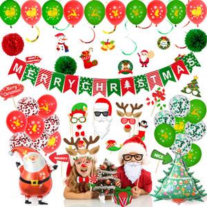 Vente chaude de Noël BALLON BANNIERE mode décoration de fête de Noël barbe photo accessoires set ballons suspendus spirale Props