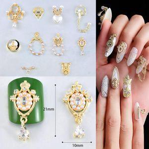 2020 Nuovo 1 pc 3D di arte del chiodo decorazione in metallo Perle zircone Lega fai da te di lusso retrò gioielli Fette Charm Dropshipping