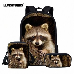 ELVISWORDS Cute Raccoon School Bag Set For Girl Boys Kids Backpacks Childrens Travel Bag Teen Student Book Mochila Escolar hLxM#