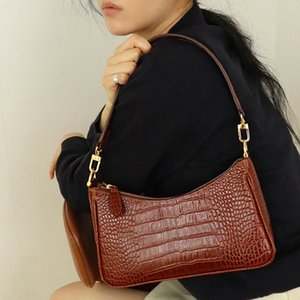 Womens Handbags Bags Vintage Alligator Shoulder Bags Elegant Female Leather Armpit Bags New Fashion Street Solid Bag JaXb#