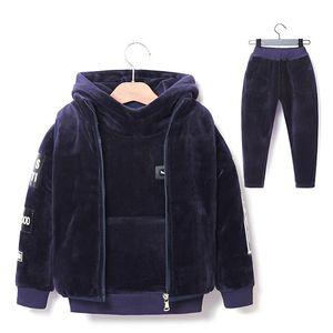 Brand Boys Warm Thicken Fleece Hoodies+Pants+Vest 3pcs Sets Girl Winter Sets Children Clothes Kids Casual Suits Christmas Outfit X0923