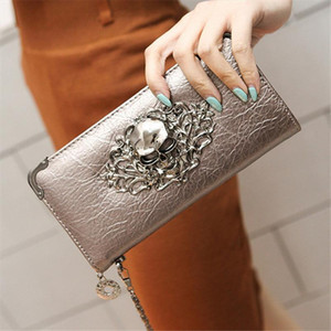 2020 new Metal Skull Pattern Long Wallet Handbag Zipper Skeleton Purse Clutch Card Holder Wallet women carteira feminina