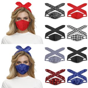 7 Colors 2 in 1 Elastic Mask Hair Band for Women Protective Polka Dot Face Masks Fashion Headband Lady Girls Hair Accessories
