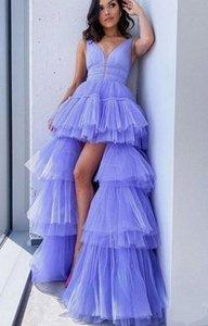 Вечернее платье лаванда Двойной V шеи бальное платье Вечерние платья Ruched High Low Вечернее платье Pageant платья сшитое