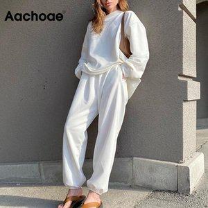 Aachoae Casual Solid 2 piece set donne manicotto lungo del Batwing Pullover Felpa elastico in vita Figura intera pantaloni diritti Set Lady
