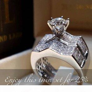2019 Nouvelle arrivée Luxe Bijoux Argent 925 Anneaux Couple Pave blanc Saphire CZ diamant femmes mariage Bague de mariée pour les amoureux cadeau