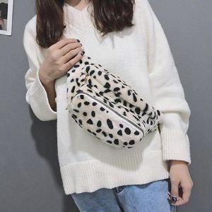 New Winter Plush Leopard Fleece Waist Bag Casual Chest Shoulder Handbag Travel Leisure Fanny Bags Women Waist Belt Bags Belt Bags EJEv#