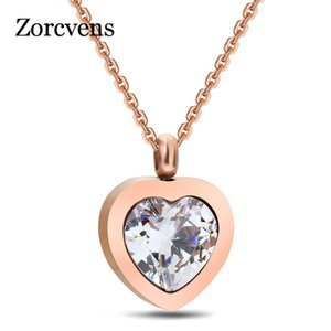 Modyle New Heart Pendant Rose Gold Stainless Steel Pendant Necklace With High Quality Cubic Zirconia Heart Necklace For Women