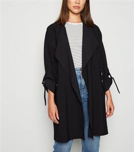 Waist Ribbon Decoration Casual Jacket Zipper Pocket Long Sleeve Cardigan Designer Womens Trench Coats Fashion Collect