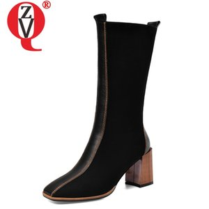 ZVQ winter new fashion mid calf boots outside high heels square toe kid suede black zip women shoes drop shipping size 33-41