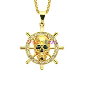 2020 designer necklace new European and American cross-border hip-hop jewelry rudder skull pendant necklace skull pendant personality men