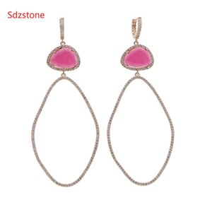 Sdzstone 70*34mm Big Size Women Oval Earring Wiht Pink Green Big Zircon Fashion Dangle Ear Jewelry