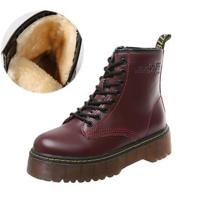 Female Autumn Winter Genuine Leather Soft Fur Lace up Shoes Flat Platform Round Toe Ladies Boots 200921