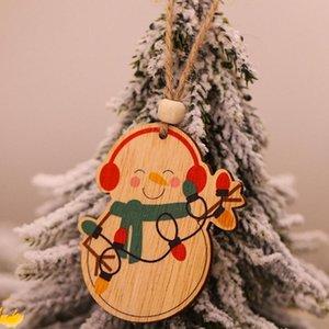 6pcs Ángel del muñeco de madera del coche Oso del árbol de Navidad que cuelgan ornamentos partido Decoración del árbol de navidad Toppers