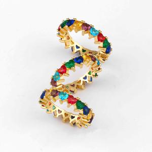 AVEBIEN jóias 2020 incrustada irregular cores do arco-íris cúbicos de zircônia anel de noivado anéis CZ estilo ocidental para as mulheres