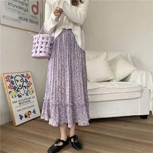 sNQQ0 Fairy pastoral floral 2020 new pleated style Long waist Korean mid-length pleated high slimming skirt skirt for women Lsguz
