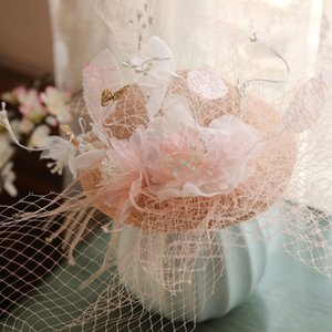 Vintage Pink Flower Veil Hat Flower Tulle Birdcage Veil Wedding Bridal Hair AccessoriesHeadpiece Head Wedding Bride Hat